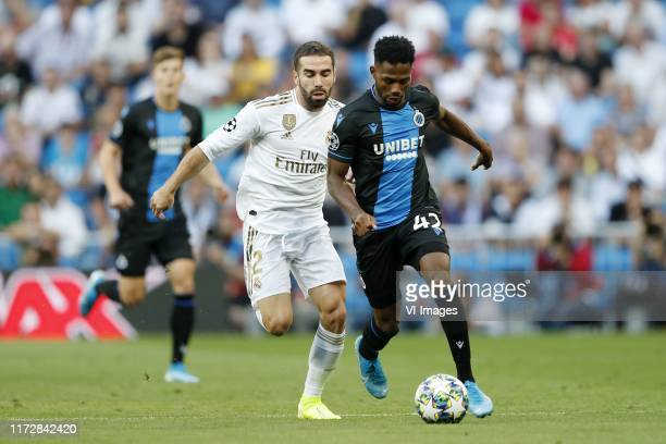 Daniel Carvajal of Real Madrid, Emmanuel Dennis of Club Brugge KV during the UEFA Champions League group A match between Real Madrid and Club Brugge...