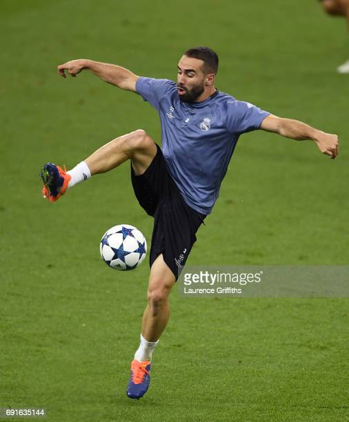 Daniel Carvajal of Real Madrid in action during a Real Madrid training session prior to the UEFA Champions League Final between Juventus and Real...
