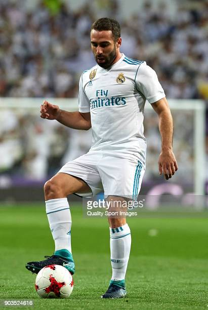 Daniel Carvajal of Real Madrid in action during the Copa del Rey Round of 16 second Leg match between Real Madrid and Numancia at Bernabeu on January...