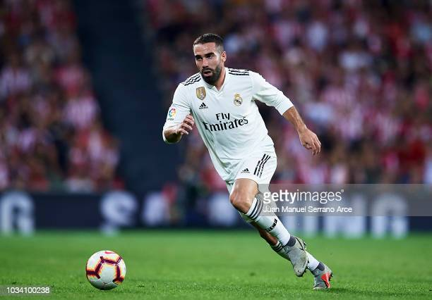 Daniel Carvajal of Real Madrid in action during the La Liga match between Athletic Club Bilbao and Real Madrid at San Mames Stadium on September 15...
