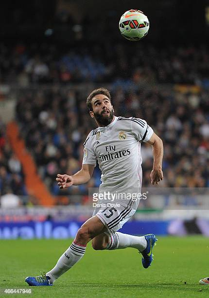 Daniel Carvajal of Real Madrid in action during the La Liga match between Real Madrid CF and Levante UD at Estadio Santiago Bernabeu on March 15 2015...