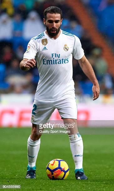 Daniel Carvajal of Real Madrid in action during the La Liga match between Real Madrid and Villarreal at Estadio Santiago Bernabeu on January 13 2018...