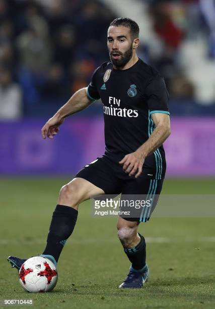 Daniel Carvajal of Real Madrid in action during the Spanish Copa del Rey Quarter Final First Leg match between Leganes and Real Madrid at Estadio...