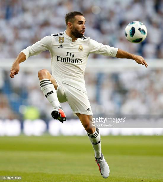 Daniel Carvajal of Real Madrid in action during the Trofeo Santiago Bernabeu match between Real Madrid and AC Milan at Estadio Santiago Bernabeu on...