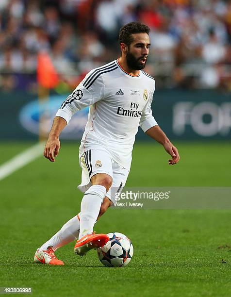 Daniel Carvajal of Real Madrid in action during the UEFA Champions League Final between Real Madrid and Atletico de Madrid at Estadio da Luz on May...