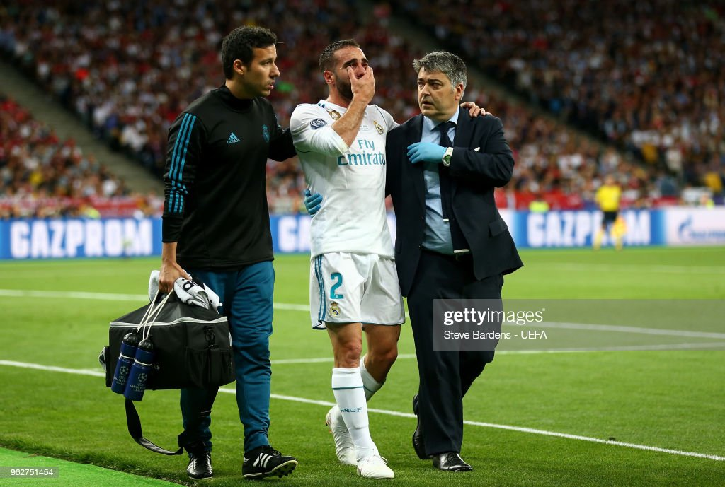 Daniel Carvajal of Real Madrid leaves the pitch in tears as he goes off injured during the UEFA Champions League Final between Real Madrid and Liverpool at NSC Olimpiyskiy Stadium on May 26, 2018 in Kiev, Ukraine.