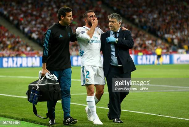 Daniel Carvajal of Real Madrid leaves the pitch in tears as he goes off injured during the UEFA Champions League Final between Real Madrid and...
