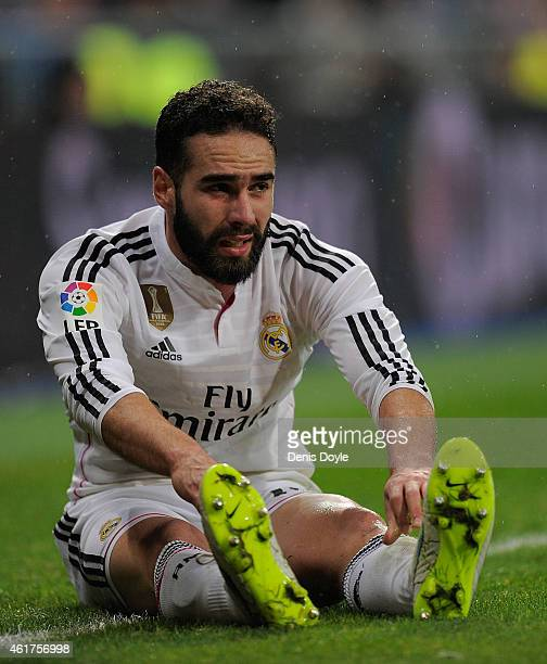 Daniel Carvajal of Real Madrid looks on during the Copa del Rey Round of 16 Second leg match between Real Madrid and Atletico de Madrid at Estadio...