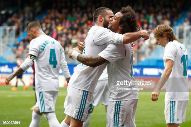 Daniel Carvajal of Real Madrid Marcelo of Real Madrid celebrate the 12 during the La Liga Santander match between Eibar v Real Madrid at the Estadio...
