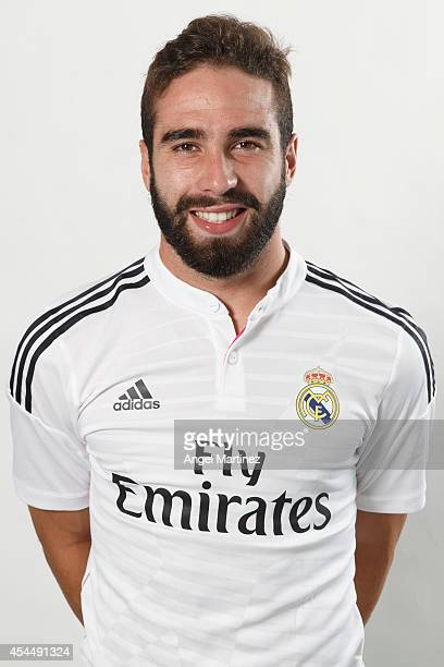 Daniel Carvajal of Real Madrid poses during a portrait session at Valdebebas training ground on September 1 2014 in Madrid Spain