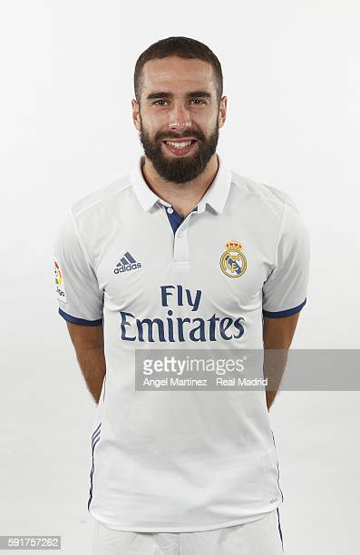 Daniel Carvajal of Real Madrid poses during a portrait session at Valdebebas training ground on August 18 2016 in Madrid Spain