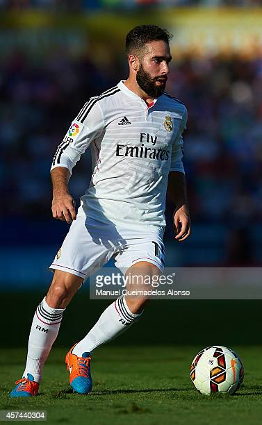 Daniel Carvajal of Real Madrid runs with the ball during the La Liga match between Levante UD and Real Madrid at Ciutat de Valencia on October 18...