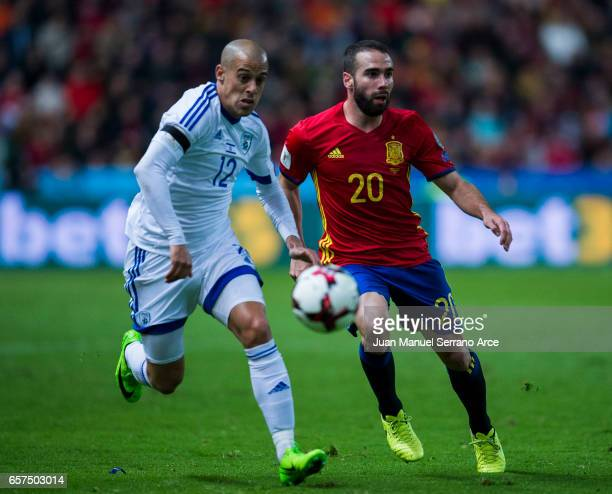 Daniel Carvajal of Spain duels for the ball with Tal Ben Chaim of Israel during the FIFA 2018 World Cup Qualifier between Spain and Israel at Estadio...