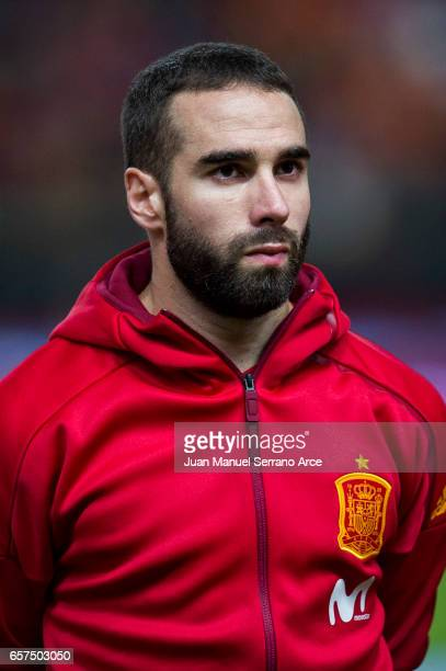 Daniel Carvajal of Spain looks on prior to the FIFA 2018 World Cup Qualifier between Spain and Israel at Estadio El Molinon on March 24 2017 in Gijon...