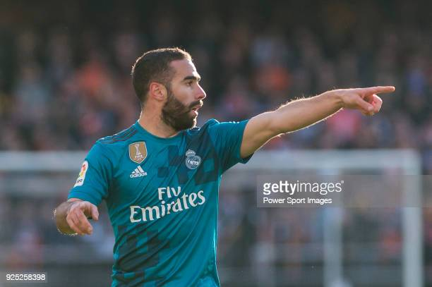 Daniel Carvajal Ramos of Real Madrid gestures during the La Liga 201718 match between Valencia CF and Real Madrid at Estadio de Mestalla on 27...