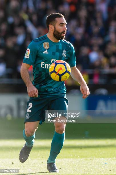 Daniel Carvajal Ramos of Real Madrid in action during the La Liga 201718 match between Valencia CF and Real Madrid at Estadio de Mestalla on 27...