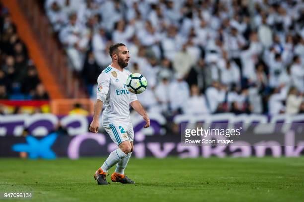 Daniel Carvajal Ramos of Real Madrid in action during the La Liga 201718 match between Real Madrid and Girona FC at Estadio Santiago Bernabéu on...