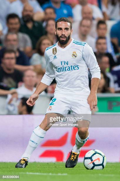 Daniel Carvajal Ramos of Real Madrid in action during their La Liga 201718 match between Real Madrid and Valencia CF at the Estadio Santiago Bernabeu...