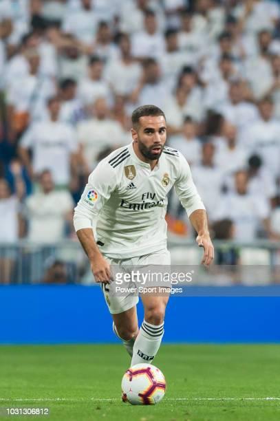 Daniel Carvajal Ramos of Real Madrid runs with the ball during the La Liga match between Real Madrid CF and CD Leganes at Estadio Santiago Bernabeu...