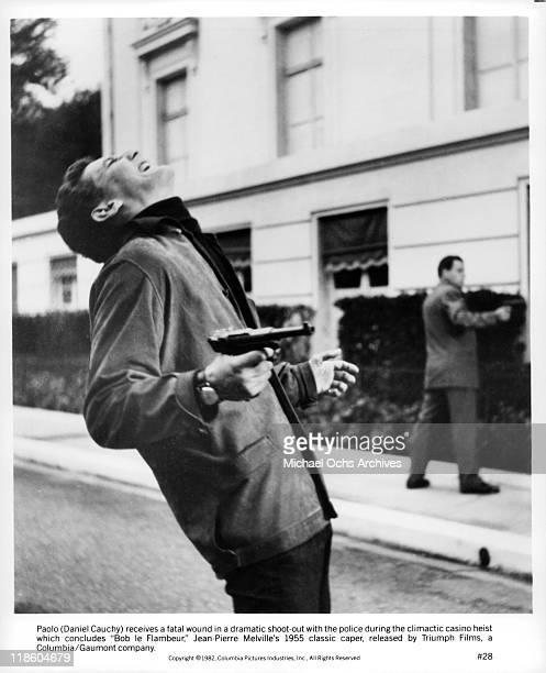 Daniel Cauchy receives a fatal wound in a scene from the film 'Bob le Flambeur' 1982
