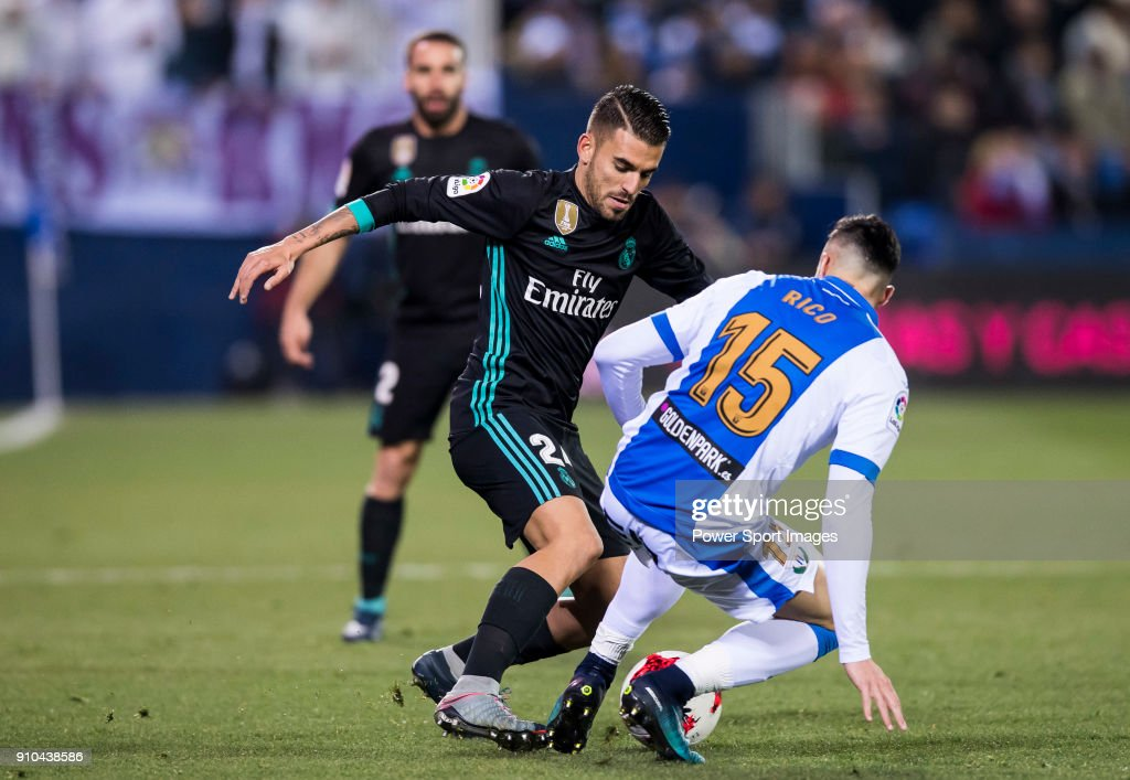 Daniel Ceballos Fernandez, D Ceballos (L), of Real Madrid competes for the ball with Diego Rico Salguero of CD Leganes during the Copa del Rey 2017-18 match between CD Leganes and Real Madrid at Estadio Municipal Butarque on 18 January 2018 in Leganes, Spain.