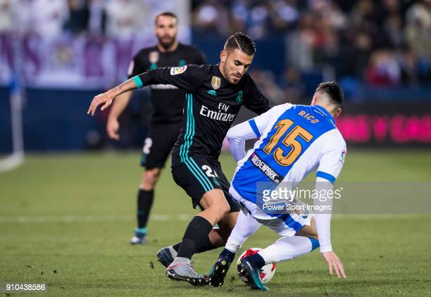Daniel Ceballos Fernandez D Ceballos of Real Madrid competes for the ball with Diego Rico Salguero of CD Leganes during the Copa del Rey 201718 match...
