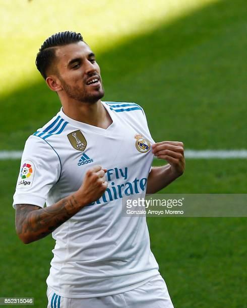 Daniel Ceballos of Real Madrid CF celebrates scoring their opening goal during the La Liga match between Deportivo Alaves and Real Madrid CF at...