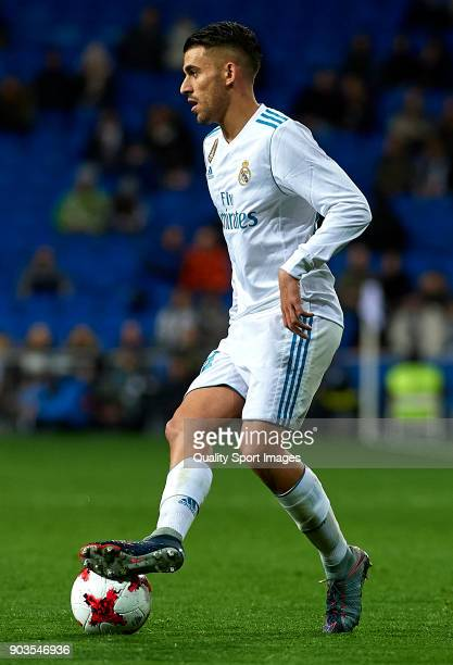 Daniel Ceballos of Real Madrid controls the ball during the Copa del Rey Round of 16 second Leg match between Real Madrid and Numancia at Bernabeu on...