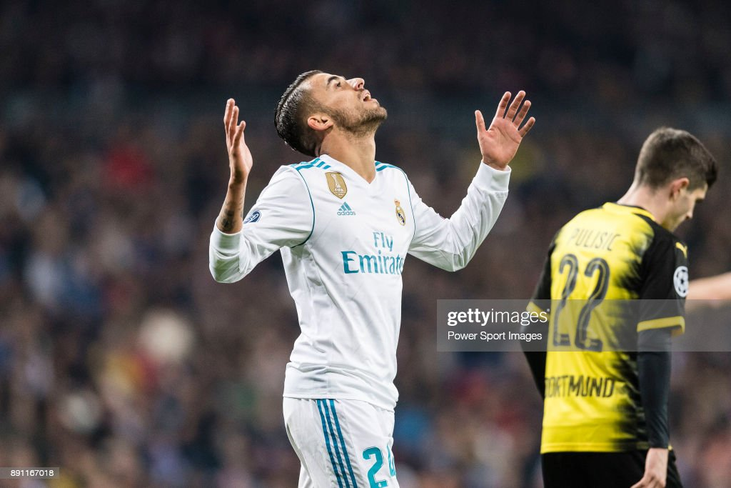 Daniel Ceballos of Real Madrid gestures during the Europe Champions League 2017-18 match between Real Madrid and Borussia Dortmund at Santiago Bernabeu Stadium on 06 December 2017 in Madrid Spain.