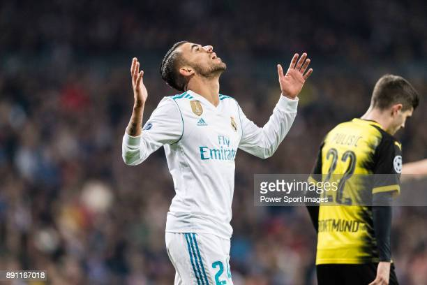 Daniel Ceballos of Real Madrid gestures during the Europe Champions League 201718 match between Real Madrid and Borussia Dortmund at Santiago...