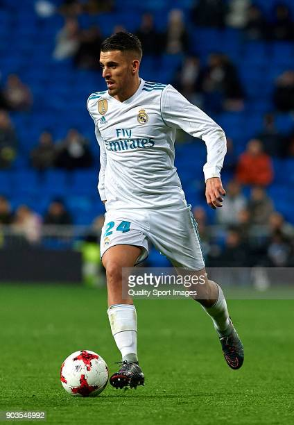 Daniel Ceballos of Real Madrid runs with the ball during the Copa del Rey Round of 16 second Leg match between Real Madrid and Numancia at Bernabeu...