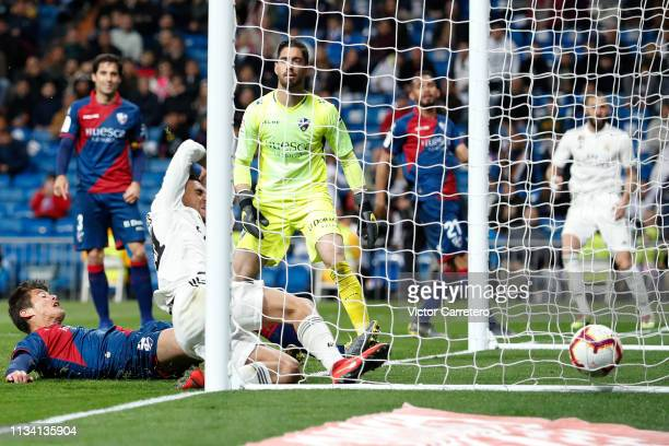 Daniel Ceballos of Real Madrid scores his team's second goal during the La Liga match between Real Madrid CF and SD Huesca at Estadio Santiago...