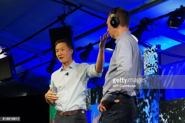 Daniel Chao cofounder of Halo Neuroscience displays his company's device to improve brain performance at the Fortune Brainstorm Tech conference in...
