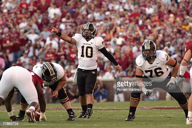 Daniel Chase of the Missouri Tigers motions of the field during the game against the Oklahoma Sooners at Memorial Stadium on October 13 2007 in...