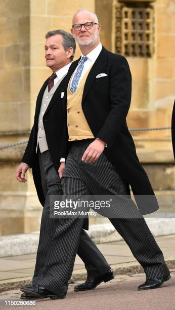 Daniel Chatto and George Windsor Earl of St Andrews attend the wedding of Lady Gabriella Windsor and Thomas Kingston at St George's Chapel on May 18...