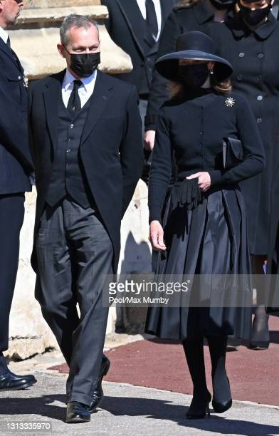 Daniel Chatto and Lady Sarah Chatto attend the funeral of Prince Philip, Duke of Edinburgh at St. George's Chapel, Windsor Castle on April 17, 2021...