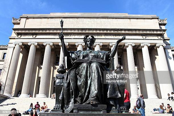 Daniel Chester French's 'Alma Mater' sculpture of the Goddess Athena sits outside the Library Of Columbia University at Columbia University in New...