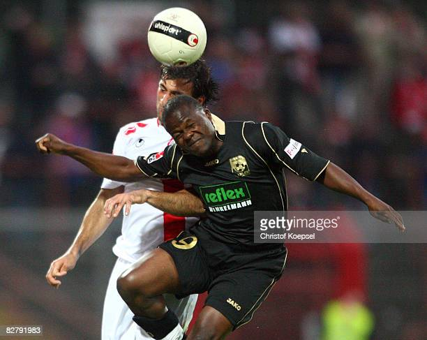 Daniel Chitsulo of Ahlen and Markus Kaya of Oberhausen go up for a header during the 2nd Bundesliga match between RW Oberhausen and RW Ahlen at the...
