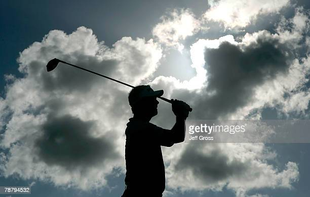Daniel Chopra of Sweden hits a tee shot on the 17th hole during the final round of the Mercedes-Benz Championship on at the Plantation Course January...