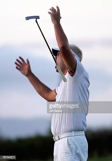Daniel Chopra of Sweden reacts after missing an eagle putt on the fourth playoff hole during the final round of the Mercedes-Benz Championship on at...