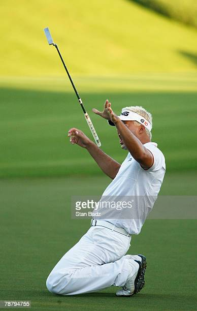 Daniel Chopra reacts after missing his putt at the third playoff hole after the fourth round of the Mercedes-Benz Championship at the Plantation...