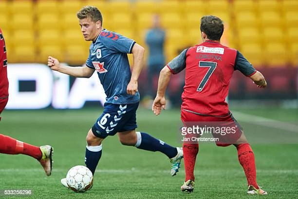 Daniel Christensen of AGF Arhus controls the ball during the Danish Alka Superliga match between FC Nordsjalland and AGF Arhus at Right to Dream Park...