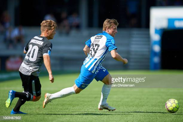Daniel Christensen of Vendsyssel FFand Anders Dreyer of Esbjerg fB in action during the Danish Superliga match between Esbjerg fB and Vendsyssel FF...