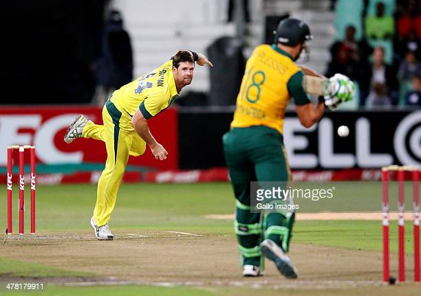 Daniel Christian of Australia bowls to Faf du Plessis of South Africa during the 2nd T20 International match between South Africa and Australia at...