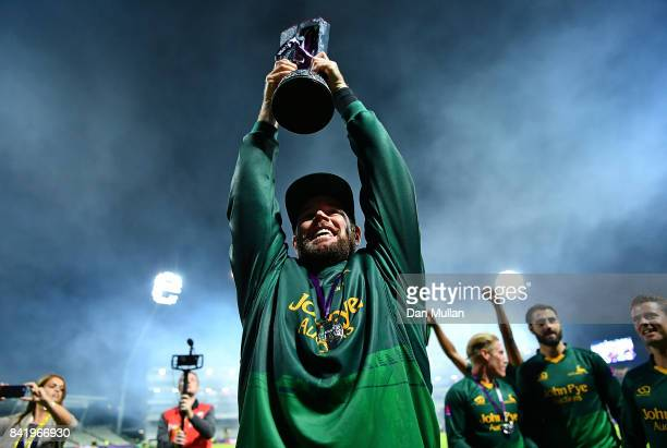 Daniel Christian of Notts celebrates with the trophy after winning the NatWest T20 Blast Final between Birmingham Bears and Notts Outlaws at...