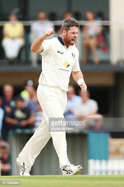 Daniel Christian of the Bushrangers celebrates after he got the wicket of Travis Head of the Redbacks during day 1 of the Sheffield Shield Final...