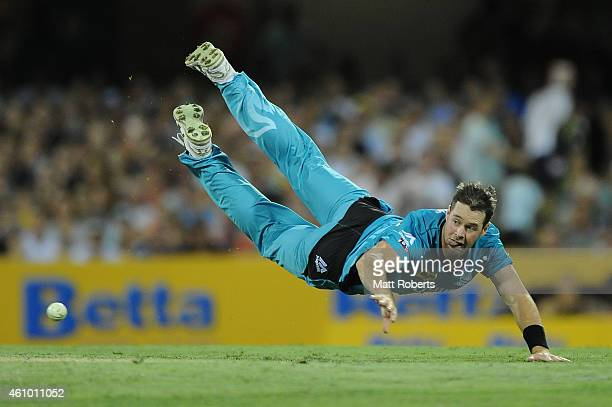 Daniel Christian of the Heat fields during the Big Bash league match between the Brisbane Heat and the Adelaide Strikers at The Gabba on January 4...