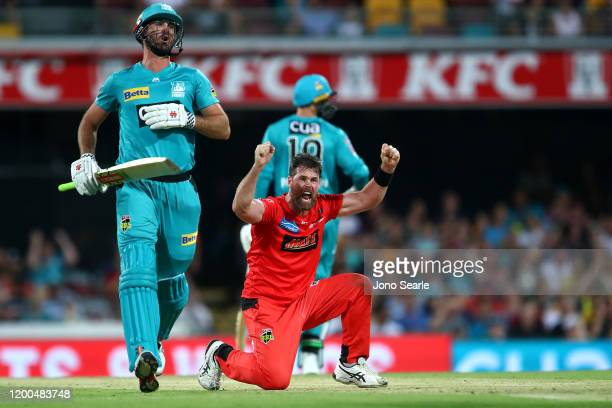 Daniel Christian of the Renegades celebrates a wicket of Ben Cutting of the Heat during the Big Bash League match between the Brisbane Heat and...