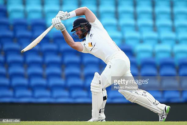 Daniel Christian of Victoria plays a shot during day four of the Sheffield Shield match between Tasmania and Victoria at Blundstone Arena on December...