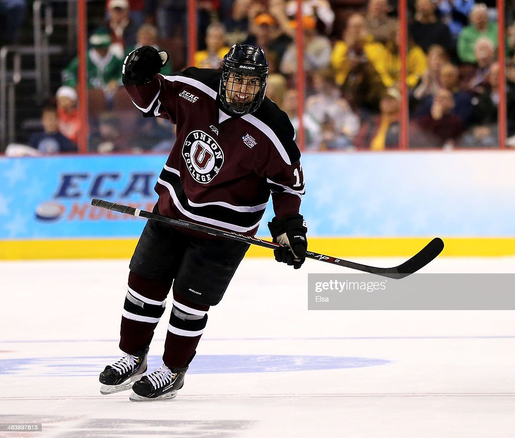 Daniel Ciampini #17 of the Union College Dutchmen celebrates his goal against the Boston College Eagles during the 2014 NCAA Division I Men's Hockey Championship Semifinal at Wells Fargo Center on April 10, 2014 in Philadelphia, Pennsylvania.